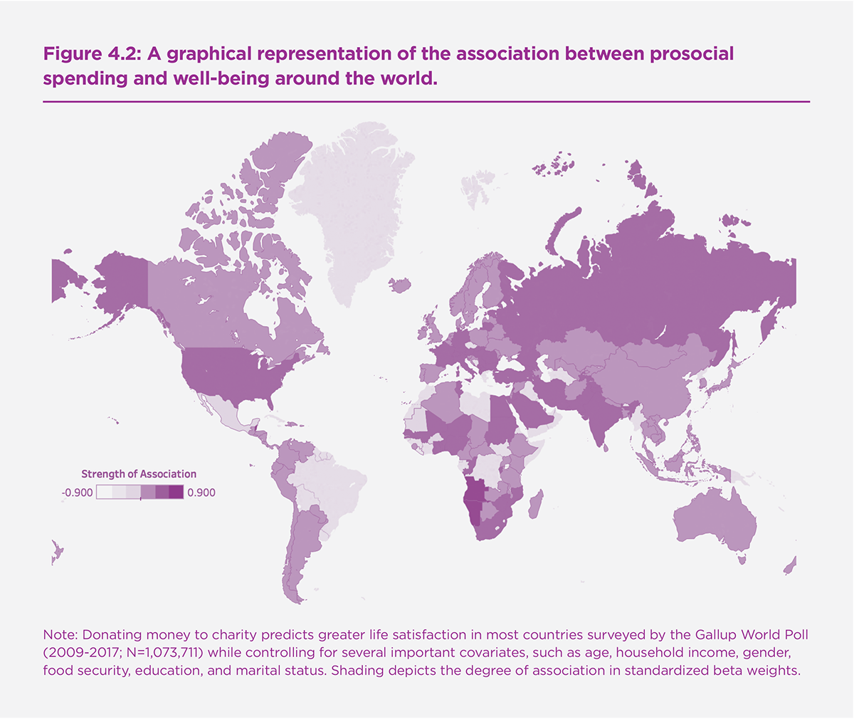 Figure 4.2. A graphical representation of the association between prosocial spending and well-being around the world.